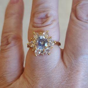 NWOT Yellow Gold and Rhinestone Ring